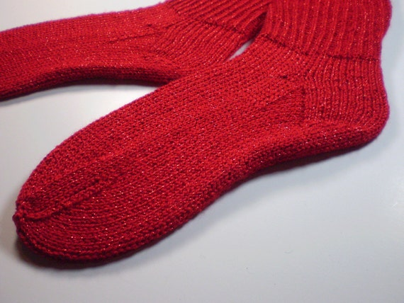 50% OFF SALE *** Hand knit socks adult size ... Foot Hugs in Holly Berry Red Sparkles ... acrylic yarn