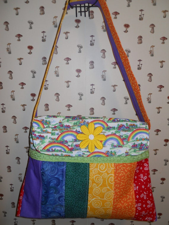 Rainbow Magic Kingdom Striped Multi Colored Medium siZe boho patchwork handbag purse