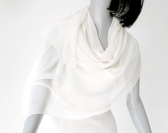 Bridal Wrap, Wedding Scarf, Silk Shawl Scarf, Sheer Wrap, chiffon scarf, Natural White, See Through Wrap, S or M, Soft White Shawl.