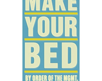 """Art for Kids Room - Make Your Bed Print 6"""" x 10"""" - House Rules By Order of the Management - Kids Art Prints- Kid Decor- Kids Bedroom Decor"""