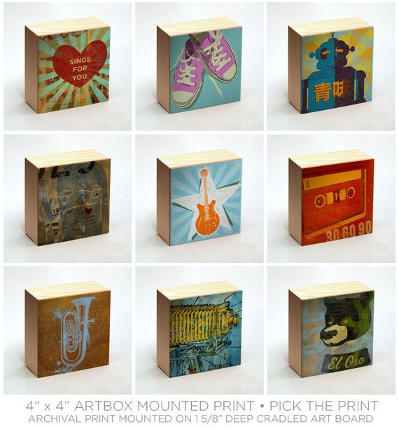 """Gifts for Him- Art on Wood Art Box Wall Decor- Pick the Art Print- 4"""" x 4""""- Gift for Dad- Gift- Gifts Under 20- Kid Decor"""