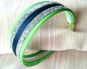 Lime Seahawkette - Lime Green, Navy & Silver Glittery Seahawks Inspired Headband