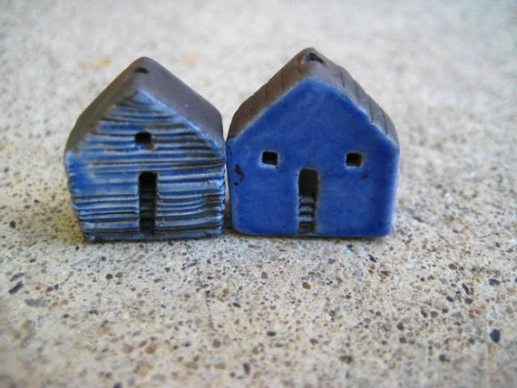 house beads, raku house beads, pottery house beads, clay house beads, miniature house, terrarium house, artist mary cullinan, jubilee