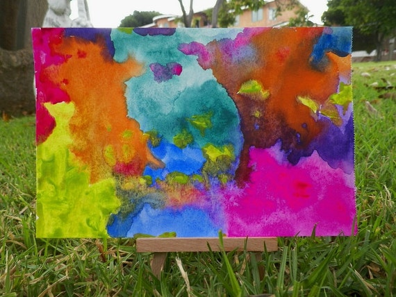 I Feel Colorful Abstract Watercolor Art Original Painting by Artist debra alouise