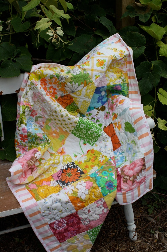 Upcycled Baby Quilt-  Flower Power Linens Collection
