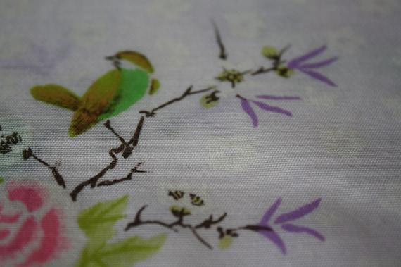 Bird Gardens Fabric-Semi Sheer Fabric