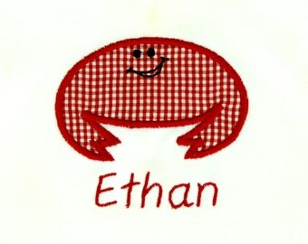 Personalized Bodysuit or Toddler Shirt Crab Applique for Baby Boys