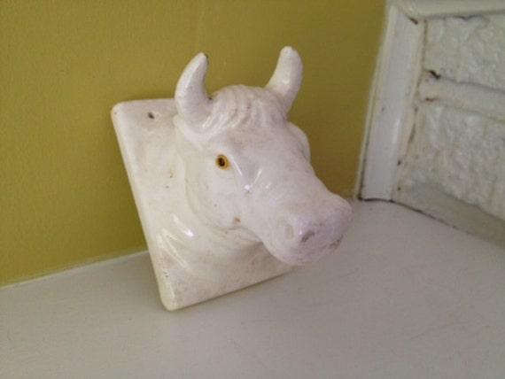 Ceramic Bull Wall Hook.