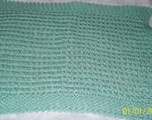 Handknit hand knit knitted spa face wash dish cloth baby wipe hand towel cotton teal green large