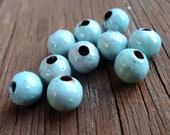 flame enameled - Seafoam spacer beads