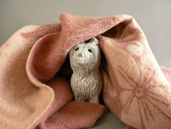Vintage Pink Wool Blanket, Pink Pure 100% Wool Bed Blanket