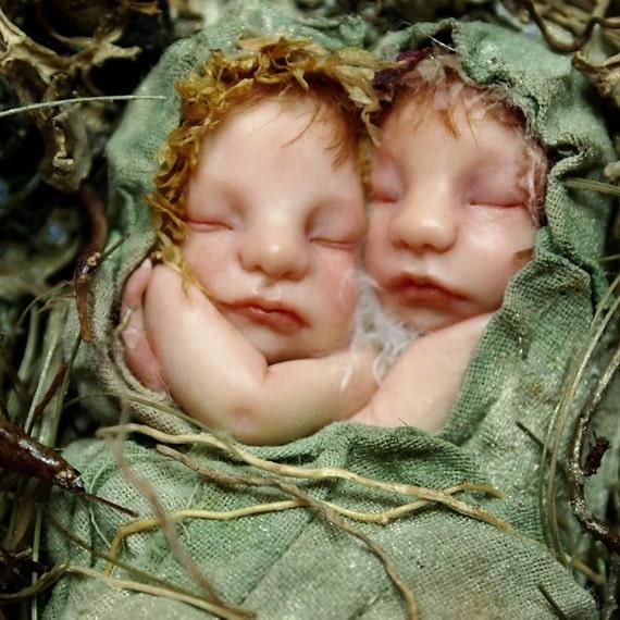 SALE Fairy Twin Babies on Nest Hand-sculpted OOAK Art Doll