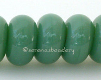 Lampwork Spacer Beads 5 MINERAL GREEN Glass Handmade Donut Rondelle