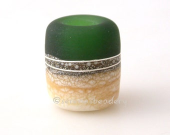 European Charm Lampwork Glass Bead SAGE GREEN IVORY Beach glossy or frosted matte  - taneres