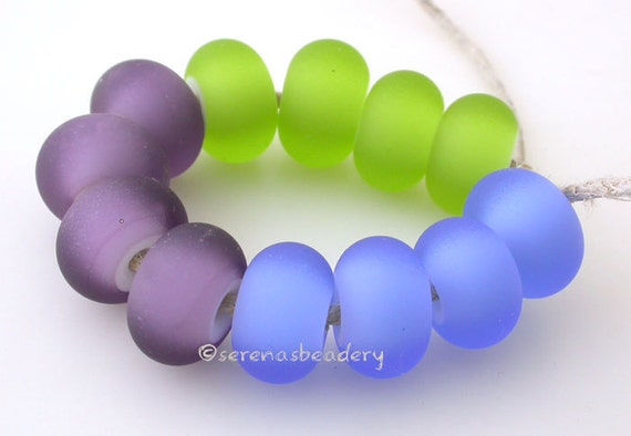 12 WHITE HEART MATTE Buyer's Color Choice - Handmade Lampwork Glass Beads- taneres