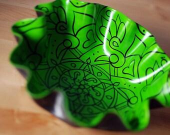 Jasmine Green Bowl - Bohemian Style Eco-Friendly Home Decor - Hand Painted Geometric Mandala on Recycled Vinyl Record