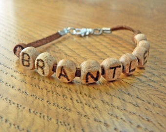 Wood Name Bracelet with Date of Birth Leather Suede strap Wood Letters Free Hand Burnished