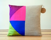 Bright Geometric Pillow Silk and Linen - 18 Inches - Last One - Ready to Ship