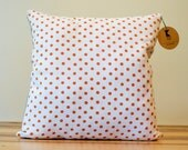 Orange Dots Linen Pillow Cover- 18 Inches - Made to Order