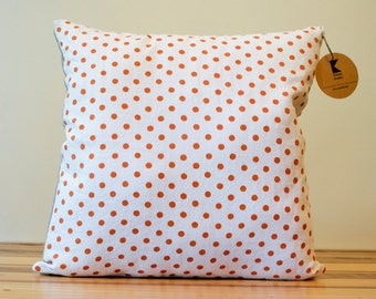 Orange Dots Linen Pillow Cover- 18 Inches - TWO LEFT!