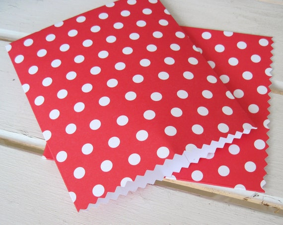 Handmade Mini Paper Bags -  Red with White Polka Dots -  Set of 10