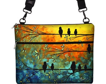 "MadArt 13 inch Laptop Bag for MacBook Pro 13"" Case Sleeve Cover Mac Laptop Messenger Bag with Strap  - Birds of a Feather MTO"