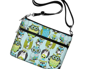 Cute iPad Air 2 Case,  iPad Cover Fabric, Owl iPad Sleeve w/ pocket, iPad Bag Purse with strap, Ipad 4 3 2 1  blue green RTS