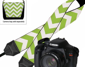 CLEARANCE Chartreuse Chevron Camera Strap Dslr Cute Colorful Slr Digital Camera Padded Strap Nikon Canon etc Lime Green Chevron RTS