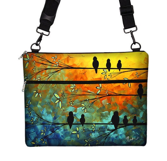 17 inch Laptop Bag for PC Laptop Case Sleeve Cover Laptop Messenger Bag with Strap - Birds of a Feather MADART (RTS)