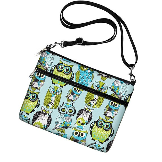 Cute iPad Air 2 Case,  iPad Cover Fabric, Owl iPad Sleeve w/ pocket, iPad Bag Purse with strap, Ipad 4 3 2 1  blue green RTS