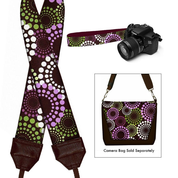 Ready to Ship - Camera Neck Strap DSLR Camera Strap SLR Padded Camera Strap Nikon Canon - Round About puple green brown - In Stock