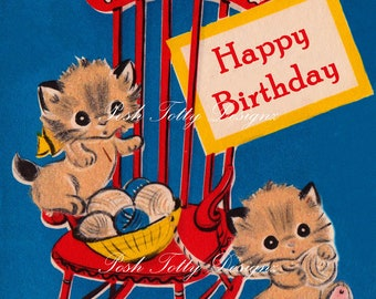 1940s Kittens Playing With Wool Happy Birthday Greetings Card Digital Download Printable Images (340)