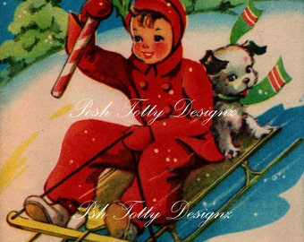 1940s Little Boy and Pup Sledging At Christmas Greetings Card Digital Download Printable Image (342)