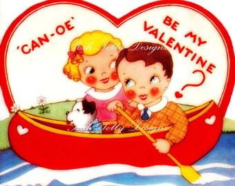 Can-oe Be My Valentine 1930s Vintage Greetings Card Digital Download Printable Image (346)