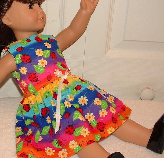 American Girl Doll Clothes Dress Rainbow Colors Ladybug and Daisy Medley SALE