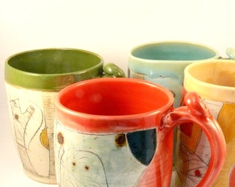 Ceramic coffee mug, stoneware cup in many colors  pottery mug, teacup, stoneware mug, unique coffee mug tall travel cup pottery  ceramics,