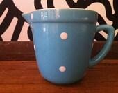 Vintage Diana Polka Dot jug 60s 50s robins egg blue retro