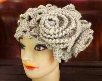 Crochet Beret Hat, Crochet Hat Womens Hat, Karen Crochet Beret Hat, Crochet Flower, Womens Wool Hat, Biscuit Gray Hat, Gray Crochet Hat