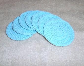 Crochet Face Scrubbies - Crochet Coasters - Robin Egg Blue Aqua- Set of 7