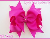 Custom Large Boutique Style Hair Bow with Spikes, You choose the color, 100 colors to choose from, birthday girl, international shipping