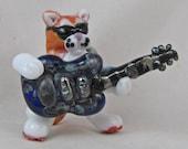 DITS Lampwork Orange Tabby Cat Rock Star Guitarist Focal Bead Glass Sculptural Animal by Annette Nilan SRA