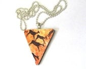 Triangle Pendant Necklace With Deer - Antelope Cave Painting