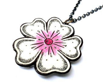 White and Pink Japanese Cherry Blossom Necklace - Sakura jewelry