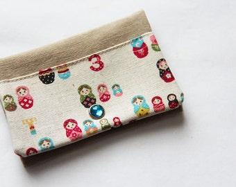 Card holder - russian dolls - cream - blue - red - business cards - shopping cards - Matriochkas