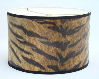 ON SALE Drum Lamp Shade in Tiger Fur Print 1960's Vintage Wallpaper