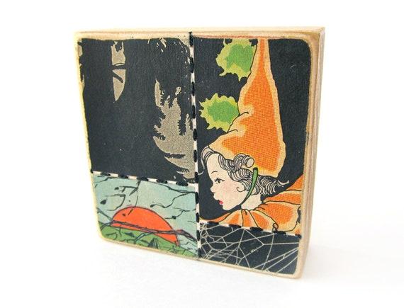 Orange - Halloween ART BLOCK - Original Mixed Media Collage