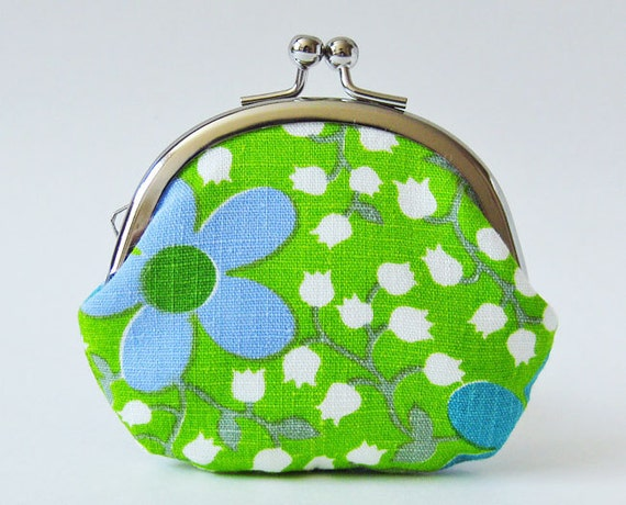 coin purse - vintage blue green flowers