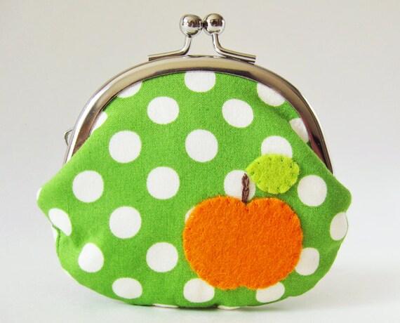Coin purse retro apple on green polka dots