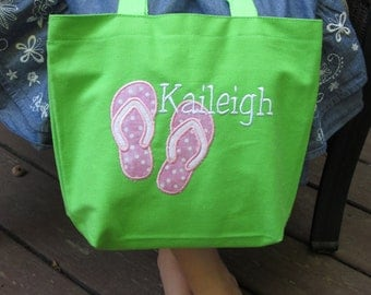 TOTE BAG Flip Flop Summer Personalized Toddler or Big Kid Tote
