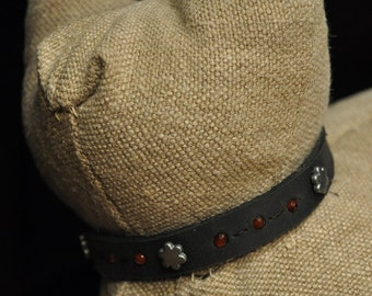 Black Leather Cat Collar with 3 Silver Metal Flowers with Carnelian Stones (The Ruby)